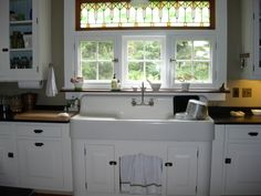 We Kept The Double Drainboard Sink That Came With The House Photo:  This Photo was uploaded by msteinen. Find other We Kept The Double Drainboard Sink Th... kitchens, kitchen idea, kitchen windows, kitchen sinks, farmhouse sinks, farm sinks, vintage kitchen, stained glass, cabinet hardware