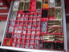 Garage tool organization on pinterest workbench ideas - Organizing nuts and bolts ...