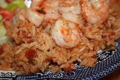Shrimp with red rice
