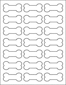 "Dog Bone Labels - Bone Stickers - Measures 2.3852"" x 1.0671"""