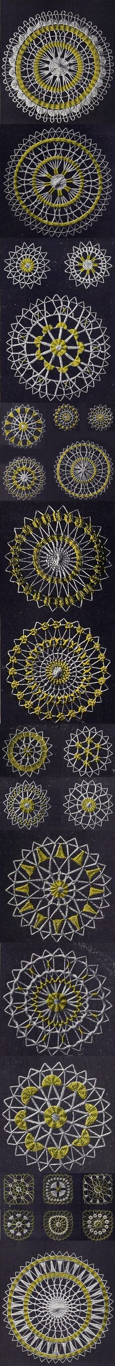 Teneriffe lace is a needle lace from the island of Tenerife. Teneriffe Lace Work from 1920 gives detailed how to instructions! Read it on DIY Collaboratorium's Crochet page.