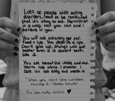 Such truth!  Eating disorders are a hard battle, but there is hope!