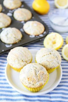 Lemon Poppy Seed Muffins Recipe on twopeasandtheirpod.com These muffins will brighten your day! #muffins
