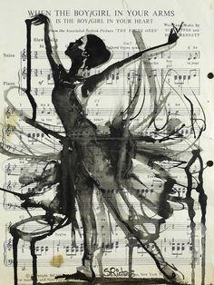 "Saatchi Online Artist: Sara Riches; Ink 2013 Drawing ""In Your Arms"" #art #ballerina #vintage #sheet music"