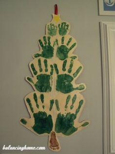 Handprint Christmas Tree craft  #christmas crafts for kids