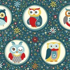 AdornIt Nested Owl Charcoal Fabric - Owl Polka Dot - Navy