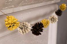 Spray-Painted Pine Cone Garland.