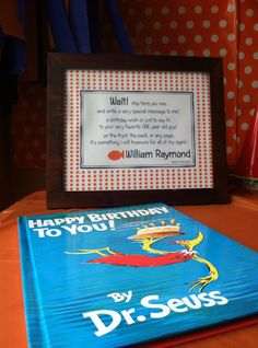 The babie's first birthday book for guests to sign