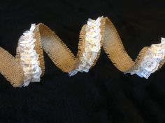 Fringed Natural Burlap and Ruffled White Lace by DawnDecorAndGifts, $4.75