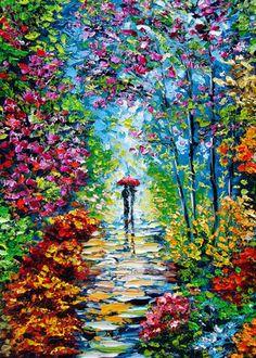 RAINY NIGHT Painting print Fine Art Print B Sasik by bsasik, $20.00