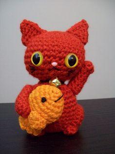 Red Maneki Neko Amigurumi - Lucky Cat for Good Health