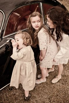 little girls, mirror mirror, vintage cars, little ones, sister photos, old cars, flower girls, friend, kid