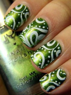 NYX Luscious Green and M64 nail art