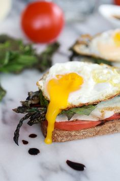 Roasted Asparagus Caprese Melt with Balsamic Drizzle and Fried Egg