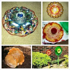 A few of my upcycled vintage glass flower garden art!