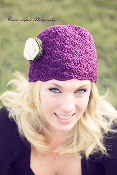 Crochet Beanie Hat Shell Textured Grape by CreativeDragonfly