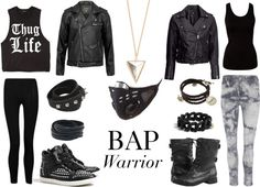 """Outfit inspired by: BAP's """"Warrior"""" MV."""