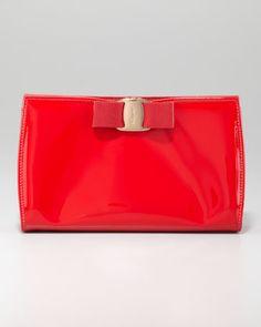 Miss Vara Patent Clutch, Red by Salvatore Ferragamo at Neiman Marcus.