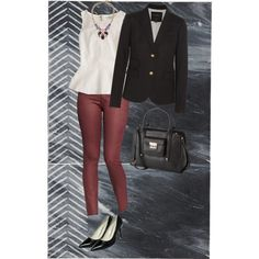 Coated Denim skinnies, blazer, heels and peplum.  Business casual Fall transition outfit.