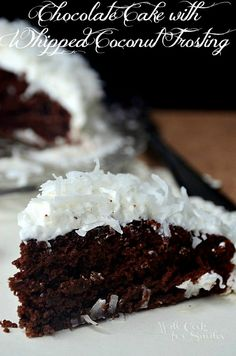 Chocolate Cake with Whipped Coconut Frosting | willcookforsmiles.com |#chocolate #coconut #cake