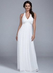 You will look alluring while creating new beginnings in this beautiful wedding dress!  Ultra-feminine halter bodice features shimmering beaded waist for a touch of glam.  Long soft a-line silhouette is flattering and chic.  Fully lined. Back zip. Imported polyester. Dry clean.  To protect your dress, try our Non Woven Garment Bag.
