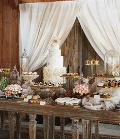 wedding receptions, shabbi chic, wedding desserts, wedding dessert tables, wedding cakes, wedding dessert bar, dessert bars, curtain, shabby chic weddings