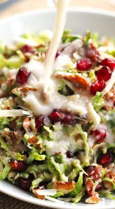 CHOPPED BRUSSELS SPROUTS SALAD WITH CREAMY SHALLOT DRESSING