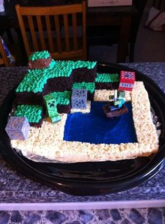 Homemade minecraft cake for my son's 9th birthday!