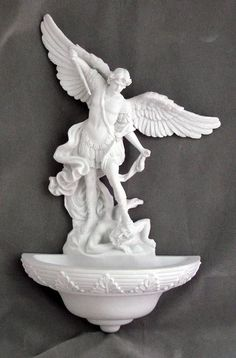 Catholic Saint Michael Holy water Font  White Veronese Collection Stunning New