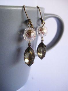 Black Friday Sale-The Duchess Salvaged Dangle Earrings-Eco Friendly-OOAK