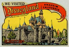 1960's Disneyland disneyland postcard, window decal, place