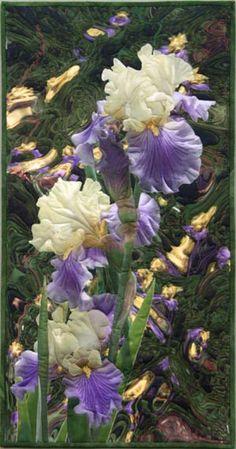 Iris Reflections  Art Quilt by Barbara Barrick McKie