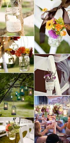 Spring/Summer Outdoor Decor? wedding ideas, mason jar uses, outdoor countri, country weddings, jar countri, mason jars, outdoor wedding decorations, flower, outdoor weddings