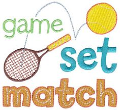 Tennis embroidery designs at Bunnycup Embroidery at http://www.bunnycup.com/embroidery/design/Tennis