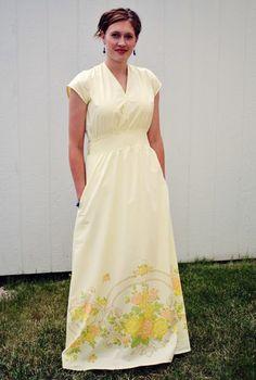 dress patterns, sew, maxi dresses, vintag sheet, dress tutorials, maxis, vintage sheets, scissor, bed sheets
