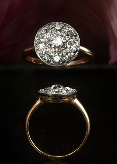 lots of sparkle, circular shape, and low profile. unique engagement ring vintage disc shaped cluster