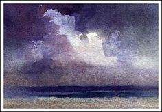 Painting Clouds with watercolor. Alizarin, Ultramarine, Prussian and a small amount of Raw Sienna were used in this example. Very wet washes were applied and manipulated with crumpled absorbent paper.