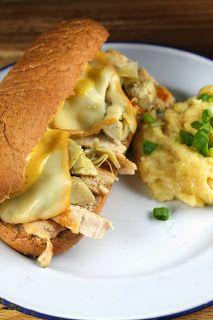 Garlic Chicken & Artichoke Sub Sandwiches using Cara Mia marinated Artichokes and STAR Garlic Infused Olive Oil