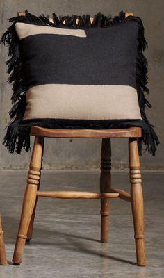 "Black & Clay Fringe Pillow - 18"""