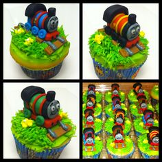 Thomas the Train cupcakes by www.amberslittlecupcakery.com