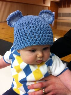 3-6 month Blue Bear Crochet Hat/Beanie, Kids Hat, Baby Hat, Child Hat, Boy Hat, Photo Prop. $16.00, via Etsy.