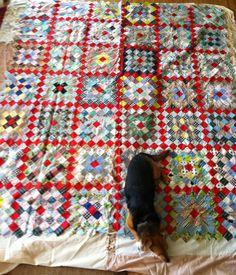vintage quilts, vintag quilt, quilt top, shop quilt, granny squares, granni squar, squar quilt