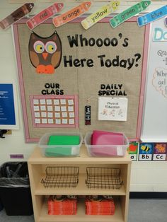 """Whoooo's here today?"" Classroom Attendance Bulletin Board"