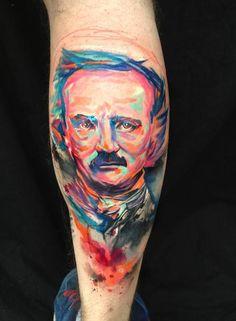 Edgar Allan Poe Portrait Tattoo by Ondřej Konupčík (Ondrash) at Ondrash Tattoo in Znojmo, Czech Republic