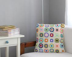 Granny Square Afghan Crochet Pillow Multi Color by deconoHut