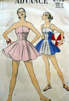 Advance 6106 (1950s) Bathing suit pattern.