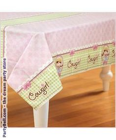 Pretty pastel cowgirl tablecloth for a Sheriff Callie themed party.