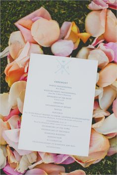 wedding program with wedding monogram