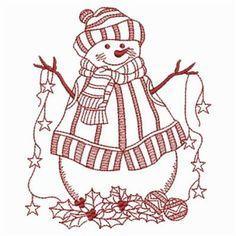 Redwork Starry Snowman 8
