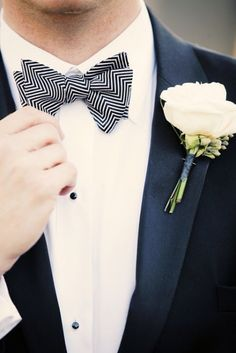 Chevron Bow tie -  #groom #weddingfashion #wedding #tie - Find more fashion ideas for your groom at www.intimateweddings.com